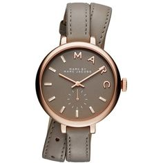 Marc Jacobs Sally Rosé Gold Leather Watch Taupe in grey, Watches ($255) ❤ liked on Polyvore featuring jewelry, watches, grey, yellow gold watches, waterproof watches, marc jacobs watches, leather jewelry and grey watches