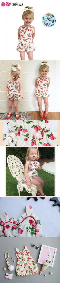Baby Rompers Kids Girls Strawberry Pattern Jumpsuit Toddler Girls Clothing Newborn Baby Wear Infant Kids Costume Romper