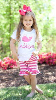 Southern Tots - A-22 Pink Striped Knit Short Set with Whale Applique