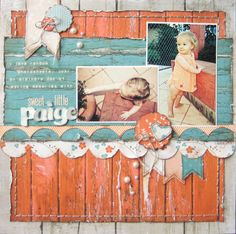 Sweet Little Paige Page by missy whidden. love the colors used on this layout & detail with a circle punch!