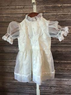 878c1a7738c89 Vintage Toddler Dress Ivory Lace Chiffon Part Dress Sheer Handmade #fashion  #clothing #shoes