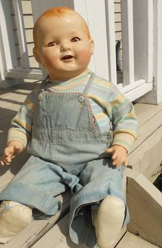 Old vintage antique composition compo large baby doll dimples mama type TLC