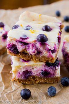 A simple, quick recipe for lemon blueberry cheesecake bars. Your whole family will love them!