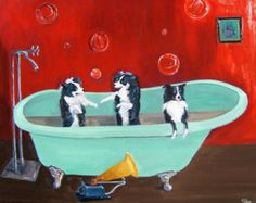"Border Collie Dog Art/""Dirty Dancing""/by Original Mike Holzer"