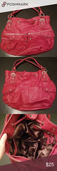 """kristin davis red purse Just in time for Valentine's Day ❤ Approx measurements  18"""" wide along zipper and 12"""" long Has few extremely small marks one on bottom of purse. Pics included. Great big purse with 2 Zippers in front and 2 pockets that snap. Snap Closure for compartment. kristin davis Bags Shoulder Bags"""