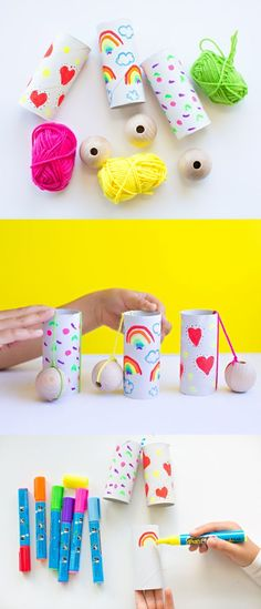 DIY Paper Tube Ball and Cup Game. Easy and fun recycled craft for kids. DIY Paper Tube Ball and Cup Game. Easy and fun recycled craft for kids. Toilet Paper Roll Crafts, Diy Paper, Paper Crafts, Toilet Paper Tubes, Craft Activities For Kids, Games For Kids, Diy For Kids, Paper Art Projects, Craft Projects