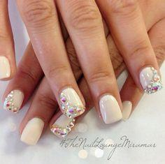 Image via  Top 50 Most Stunning Wedding Nail Art Designs #weddingnails #naildesigns #nails   Image via  Wedding Day Nail Designs for 2015   Image via  Glitter Ombre Nail Design using Ess
