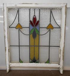 """LARGE OLD ENGLISH LEADED STAINED GLASS SASH Floral & Hearts design 25.25"""" x 27"""""""