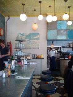 Cafe Colette | Brooklyn, NY Notice the tiles on the wall. Imagine for basement ceiling. Faux.