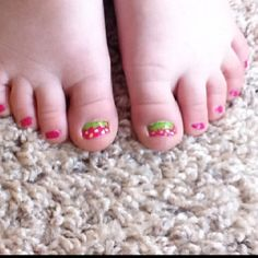 Little girls strawberry nails for her strawberry shortcake party!