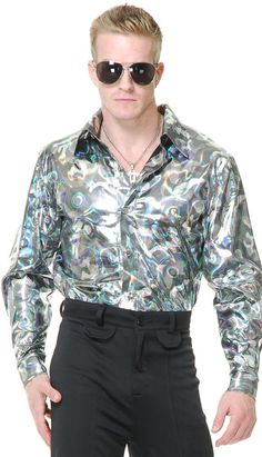 #Trendy Halloween - #Charades Silver Circles Disco Shirt Adult Mens Costume - AdoreWe.com