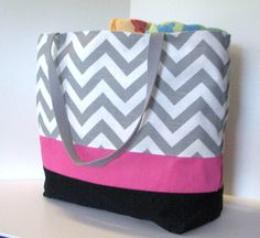 Set of 5 LARGE Chevron beach bags . Gray by DoodlescootDesigns