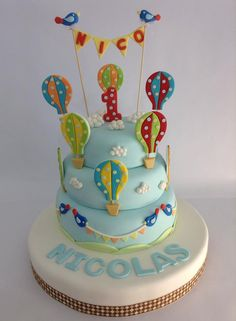 Creative Cake Decorating For A Kid's Birthday Torta Baby Shower, Shower Cakes, Adult Birthday Cakes, Birthday Cakes For Women, Baby Birthday, Creative Cake Decorating, Birthday Cake Decorating, Hot Air Balloon Cake, 100 Day Celebration