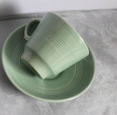 Woods Ware Demi Tasse Small Cup and Saucer in Beryl Green. Cup And Saucer, Woods, Colours, Tableware, Handmade Gifts, Green, Etsy, Vintage, Kid Craft Gifts