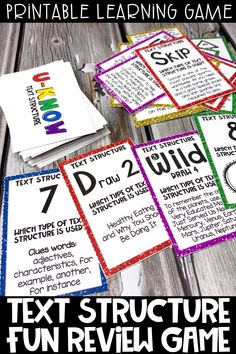 Printable text structure fun review game is the perfect ELA activity for distance learning.  This game is print and go and can be learned once and played over and over.  Covers  Compare