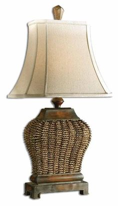 This appealing lamp features a mahogany finish with rust distressing and a beige wash! I Shop Lighting - Rug & Home I