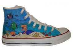Converse Chuck Taylor All Star Hi Top Custom Underwater Scene Fish Hand Painted : American Athletics