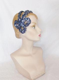 1950s Vintage Purple Sequin Headband Hat by MyVintageHatShop