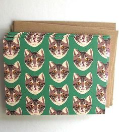 Green Cat Pattern Card Pack by La Familia Green on Scoutmob Shoppe