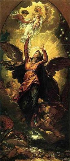 The Woman Clothed with the Sun Fleeth from the Persecution of the Dragon - Benjamin West