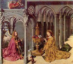 Zvěstování ~ Annunciation; Barthélemy d' Eyck, 1443-1444, uloženo v Église de la Madeleine d'Aix-en-Pronevence