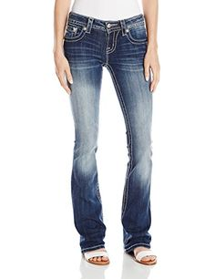 PRODUCT DETAILS : Mid-rise boot cut jean is styled with a large cross adorned with twinkling crystal rivets on flap pockets, contrast stitching, and logo hardware. 98 Cotton; 2 Elastane, [ ]