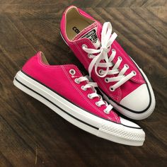 Shop Women's Converse Pink size 7 Sneakers at a discounted price at Poshmark. Dark pink Converse All Star. Size 7 L. Pink Converse, Pink Sneakers, Pink Shoes, Converse All Star, White Shoes, Converse Shoes, Pink Lace, White Lace, Lace Up