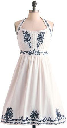 Modcloth Keeping It Al Fresco Dress in White (navy) | Lyst