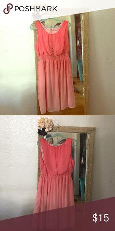 Coral Empire Waist Ombré Dress! Beautiful coral Ombre dress. Size 2x by Kim Rogers. Kim Rogers Dresses Midi