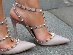 Valentino studded heels in nude/ gray