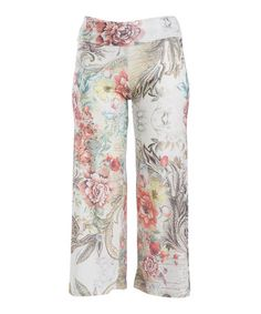 Look at this #zulilyfind! Taupe & Pink Floral Palazzo Pants - Plus #zulilyfinds