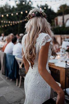 Backless Lace Boho Mermaid Wedding Dresses Cap Sleeve Bohemian Bridal – SheerGirl Black Wedding Guest Dresses, Wedding Dresses Near Me, Backless Mermaid Wedding Dresses, Lace Beach Wedding Dress, Western Wedding Dresses, Luxury Wedding Dress, Backless Wedding, Bohemian Wedding Dresses, Mermaid Dresses