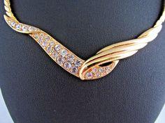 Vintage C1980's TRIFARI Gold Tone & Glass Crystal Necklet ~ Bridal #Trifari