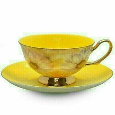 If it wasn't bone china I'd get one of these cups, likely the blue cup though. Yellow Satin Shelley Bone China Tea Cup in Gift Box Tea Cup Set, My Cup Of Tea, Cup And Saucer Set, Tea Cup Saucer, China Tea Sets, Bone China Tea Cups, Teapots And Cups, Mellow Yellow, Bright Yellow