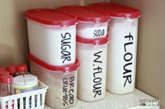 Organizing the Pantry with Tupperware by JustAGirlAndHerBlog.com  vinyl labeling - must do soon!