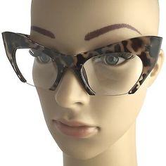 fe0d81b3e1 Cat Eye Eyeglasses Women Retro Vintage Razor Clear Lens Style Half Cut Off  Frame