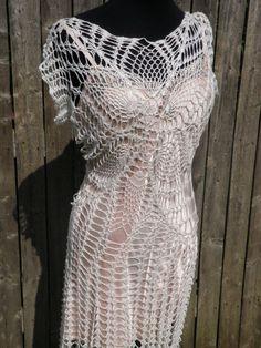 hand made crochet wedding dress made to order by CrochetByMel, $225.00