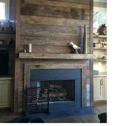 Fireplace Surround with wood and tile