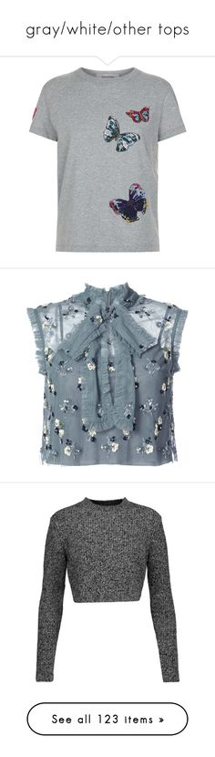 """""""gray/white/other tops"""" by mrstomlinson974 on Polyvore featuring tops, t-shirts, butterfly t shirt, butterfly print top, beaded t shirt, valentino t shirt, butterfly tops, crop top, blouses and shirts"""