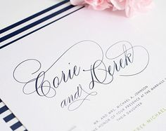 Navy Blue Wedding Invitation - Navy Blue Wedding Invites - Typography, Names - Script Elegance Wedding Invitations by Shine Invitations