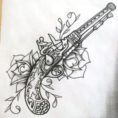 The shaded version of the linework I did earlier, done with those markers I got. Guns and roses shaded Trendy Tattoos, New Tattoos, Cool Tattoos, Ship Tattoos, Ankle Tattoos, Arrow Tattoos, Small Tattoos, Guns And Roses, Flintlock Pistol Tattoo