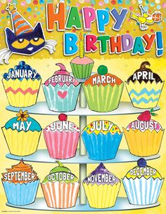Display class birthdays with this Pete the Cat Happy Birthday Chart. Each chart measures by