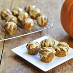 Mini Pumpkin Chocolate Chip Muffins with Salted Caramel Cream Cheese Glaze | Virtually Homemade