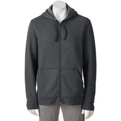Big & Tall Tek Gear® Full-Zip Hoodie ($18) ❤ liked on Polyvore featuring men's fashion, men's clothing, men's hoodies, dark grey, mens full zip hoodie, mens sweatshirts and hoodies, mens zip up hoodie, mens full zip hoodies and mens hooded sweatshirts