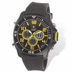 US Army Wrist Armor C24 Watch Blk/Yellow Dial & Blk Rubber Strap