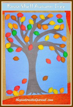 pasta shell autumn tree craft - fall crafts for kids Macaroni Art, Macaroni Crafts, Pasta Crafts, Easy Fall Crafts, Easy Arts And Crafts, Crafts For Kids To Make, Art For Kids, Kids Crafts, Daycare Crafts