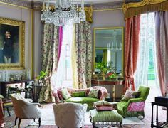 Romantic style living room decorated in Designers Guild Royal Collection Designers Guild, Living Room Decor, Living Spaces, Living Rooms, French Decor, Beautiful Interiors, Decoration, Home And Living, Interior Inspiration