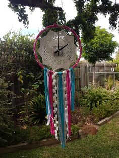 Clock Dreamcatcher Pink And Teal.