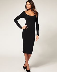 Bodycon Midi Dress with Long Sleeve  #Dress #Black Super sexy, ladylike, flattering