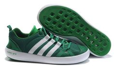 Men's Adidas Boat CC Lace Water Grip Shoes In GreenWhite